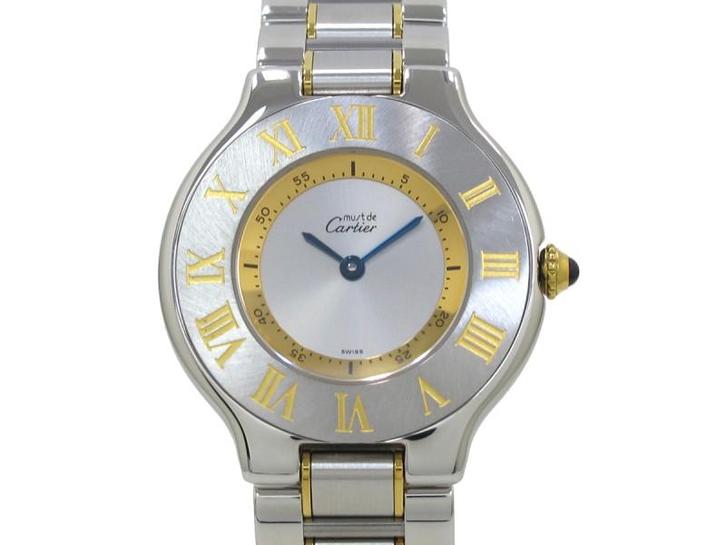 Cartier Must 21 Stainless Steel & Gold Plated Quartz 31mm Womens Watch