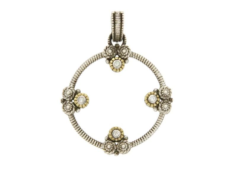 Judith Ripka 925 Sterling Silver 18K Yellow Gold Diamonique Pendant