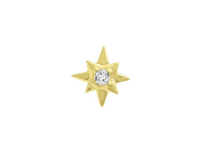 14k Yellow Gold Diamond Star Single Earring