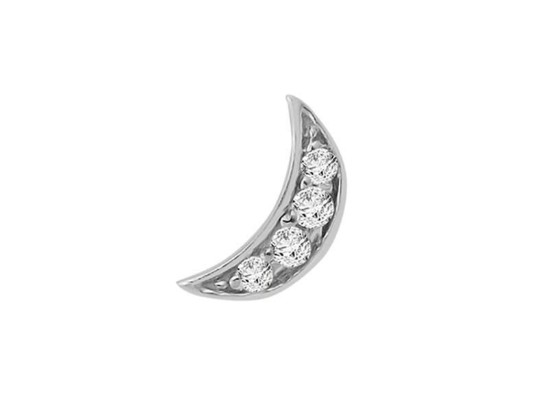 14k White Gold Diamond Moon Single Earring