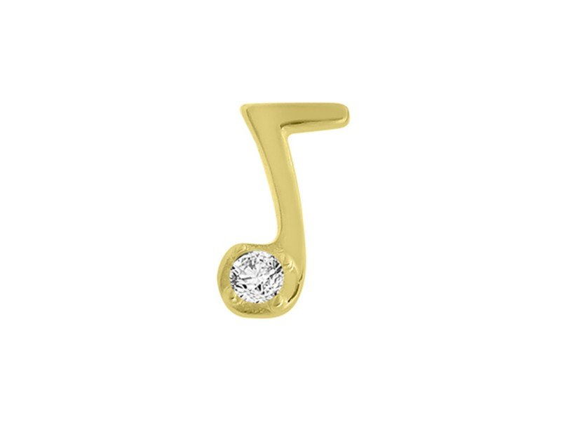 14k Yellow Gold Diamond Note Single Earring