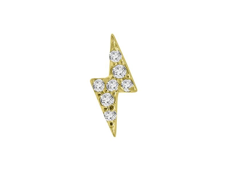 Yellow Gold Over Silver Diamond Bolt Single Earring