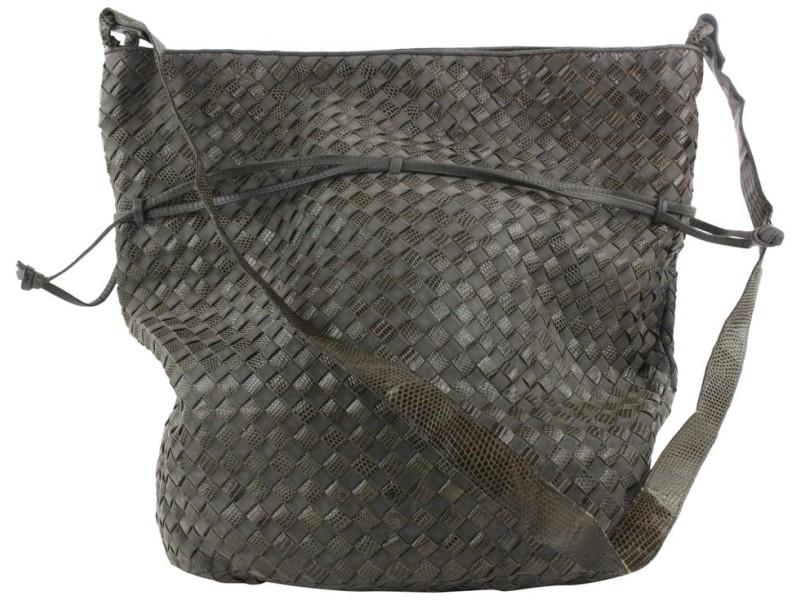 Bottega Veneta Grey Lizard x Leather Intrecciato Drawstring Shoulder bag 201bot29