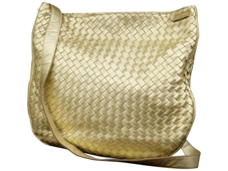 Bottega Veneta Messenger Metallic 227211 Gold Woven Leather Cross Body Bag