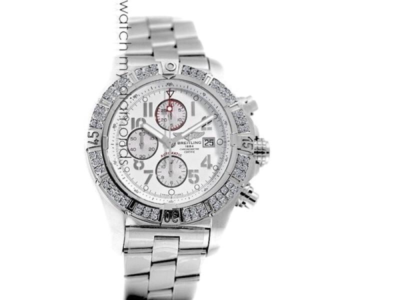 Breitling Super Avenger Watch White Dial Model Custom Diamond Bezel SS Watch A13370