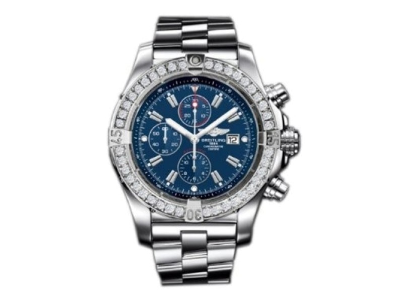 Breitling Super Avenger A13370 Stainless Steel Watch with Custom Diamond Bezel