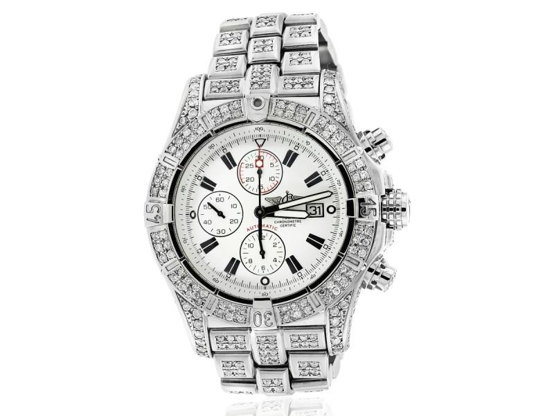 Breitling Super Avenger Watch White Dial Model Custom Diamond Watch A13370