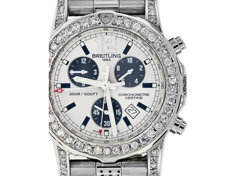 Breitling Colt 44 A73387 Stainless Steel Band Watch Customized Diamond Bezel