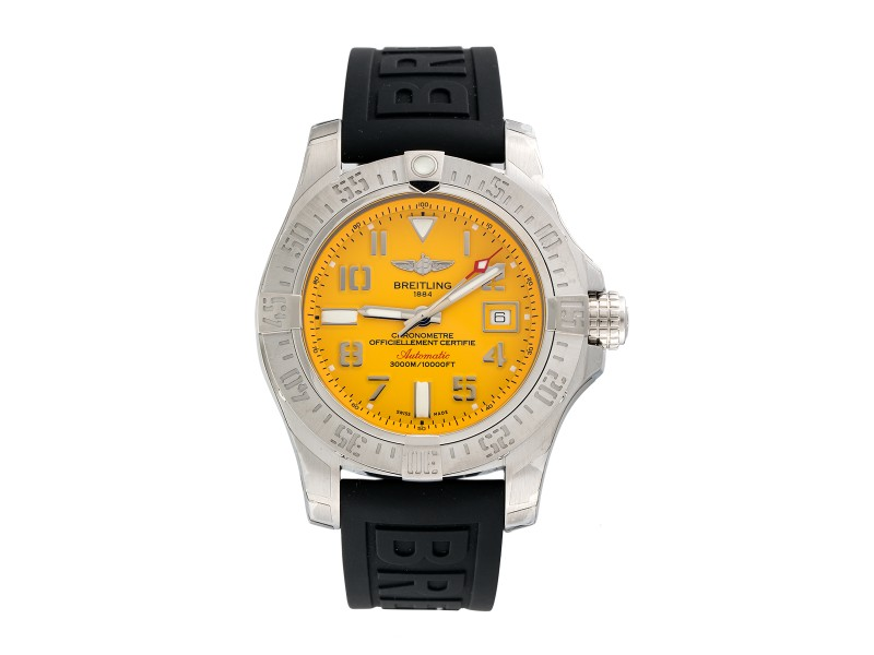 Breitling Avenger II Seawolf A1733110/I519 Cobra Yellow Stainless Steel Automatic 45mm Watch