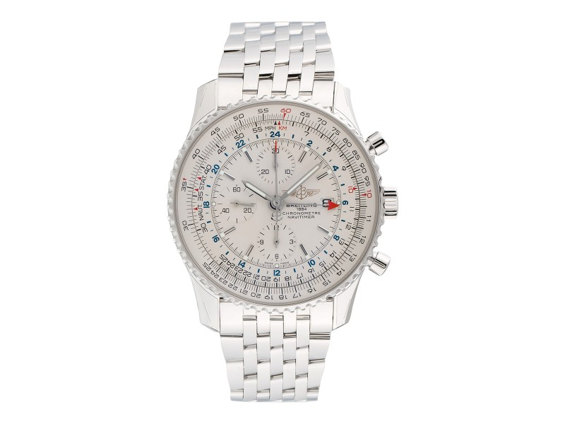 Breitling Navitimer World Chrono a2432212 Silver Dial Bracelet 46mm Watch