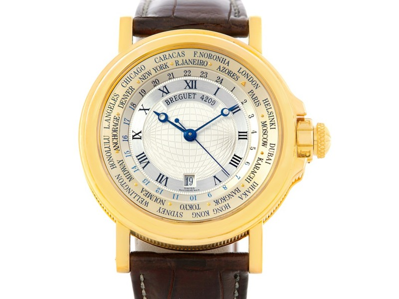 Breguet Marine World Time Hora Mundi 3700 18K Yellow Gold & Leather Automatic 38mm Mens Watch