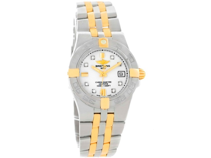 Breitling Galactic B71340 Stainless Steel/18K Yellow Gold Diamond 30mm Womens Watch