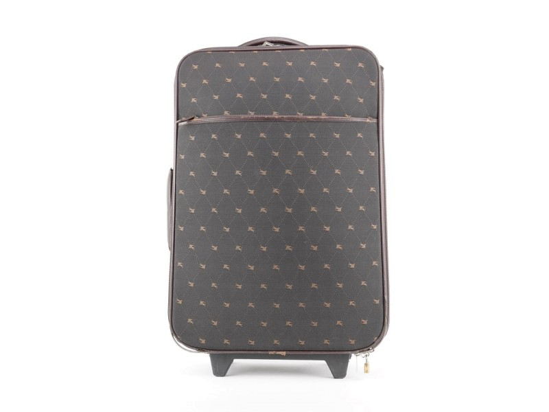 Burberry Blue Label Brown Logo Rolling Luggage Trolley Suitcase 397bur226