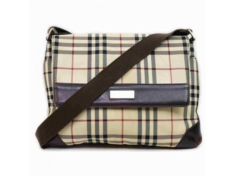 Burberry Beige Nova Check Messenger Crossbody Bag 858188