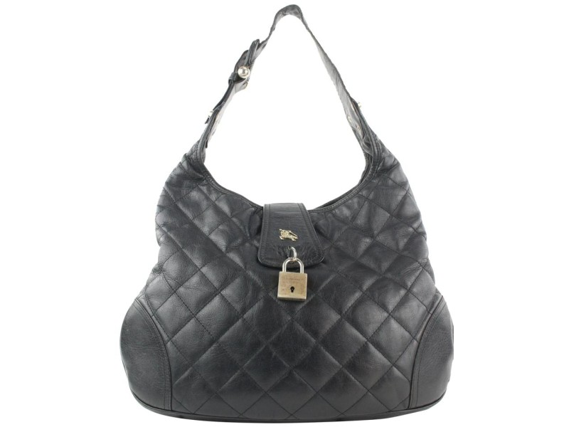 Burberry Black Quilted Leather Brook Hobo Bag 41bur122