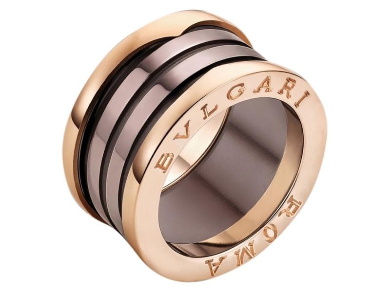 Bvlgari BZero1 18K Rose Gold and Bronze Ceramic 4 Band Ring Size US 7.75 EU 56