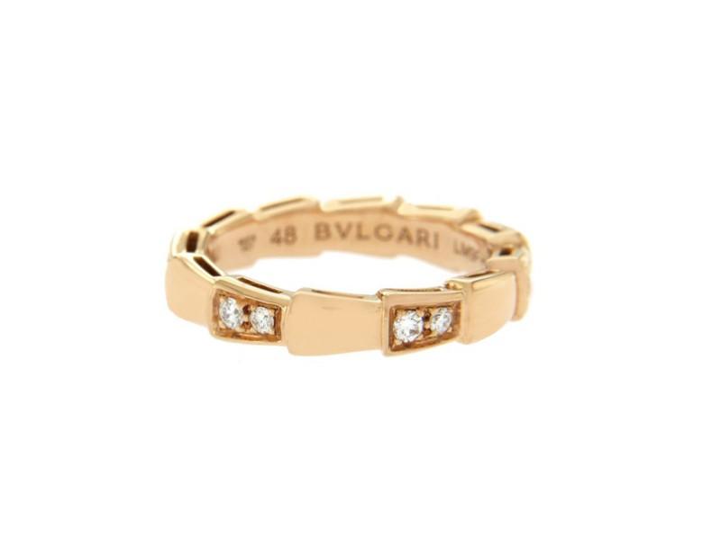 Bulgari Serpenti 18K Rose Gold with 0.25ct Diamond Eternity Band Ring Size 4.5
