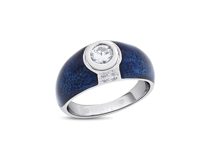 18k White Gold 0.37 Ct. Genuine Hidalgo Solitaire Diamond Blue Enamel Ring Size 6.5