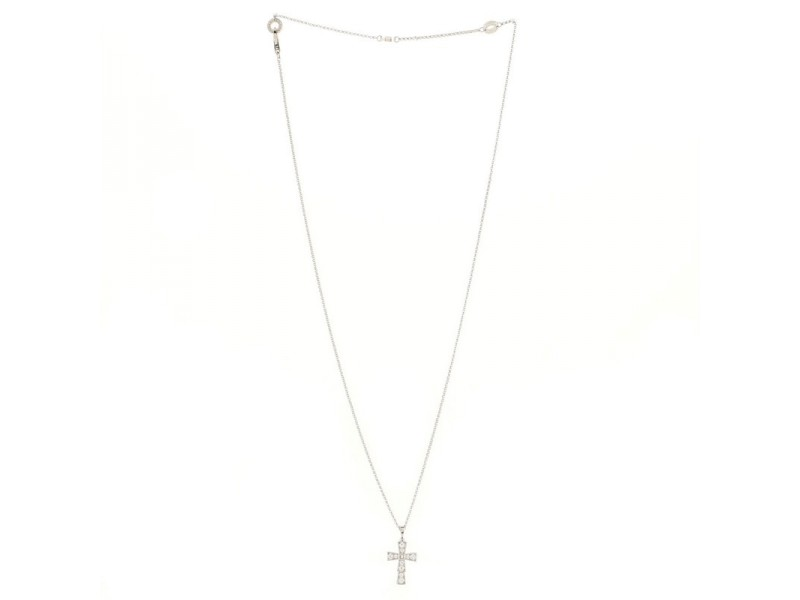 Bvlgari Croce Pendant Necklace 18K White Gold and Pave Diamonds