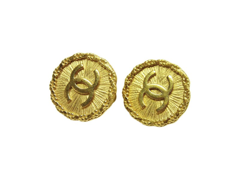 Chanel Metal Gold Coco Mark Earrings
