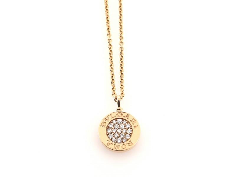 Bvlgari Bvlgari Roma Pendant Necklace 18K Rose Gold with Diamonds and Onyx
