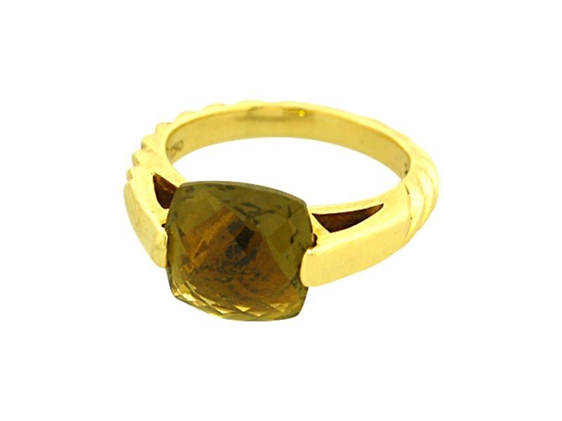 David Yurman 18K Yellow Gold Olive Quartz Fashion Ring