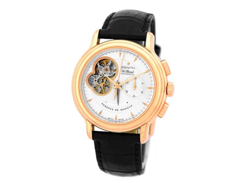 Zenith Chronomaster Open Power Reserve El Primero Chronograph 18K Rose Gold Strap Mens Watch