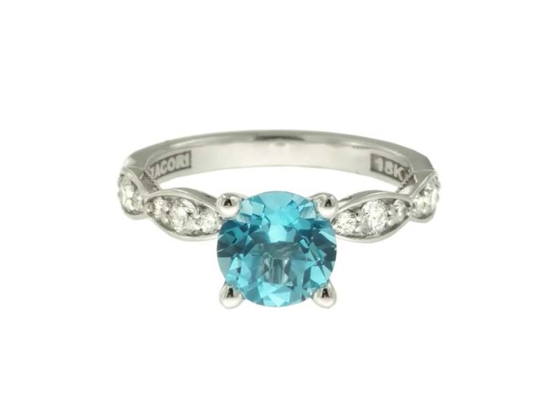 Tacori 18K White Gold Topaz .36ctw Diamond Ring Size 6.5