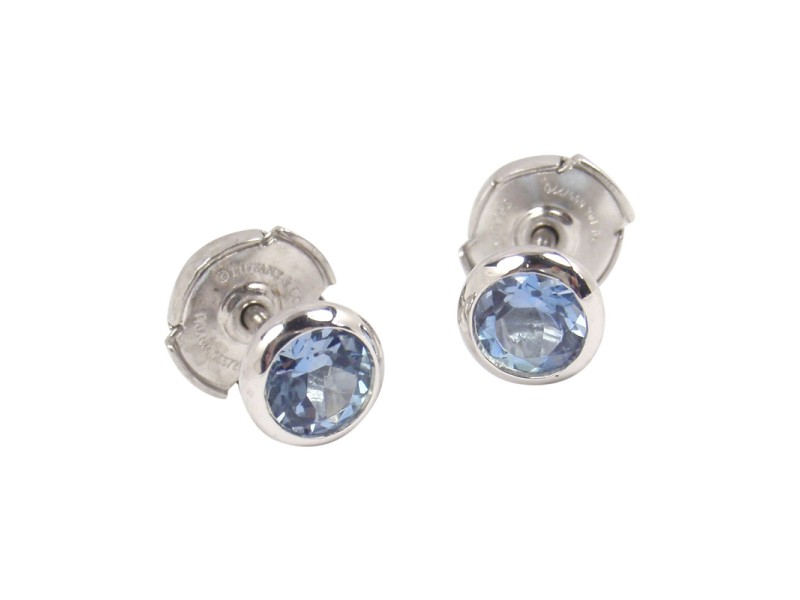 Tiffany Co Elsa Peretti Platinum With 0 70ct Aquamarine Earrings