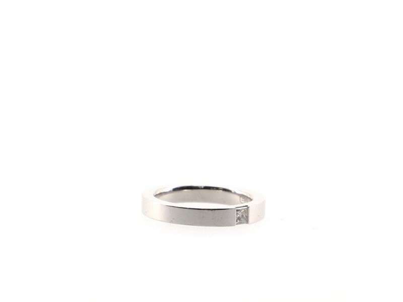 Harry Winston Princess Cut Single Diamond Wedding Band Ring Platium and Diamond 3.5