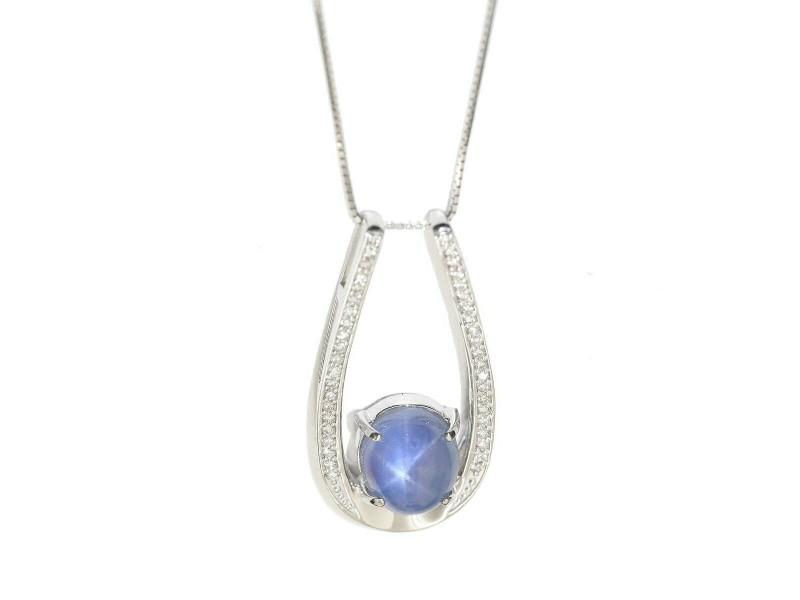 18k white gold Sapphire Diamond Necklace