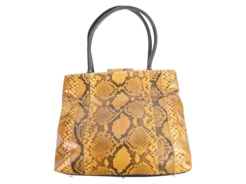 Carlos Falchi Fatto A Mano 1cfty929 Brown Python Skin Leather Tote