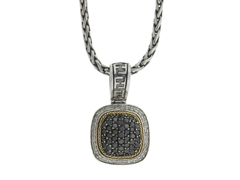 Effy Balissima Two Tone White and Black Diamond Pendant Necklace