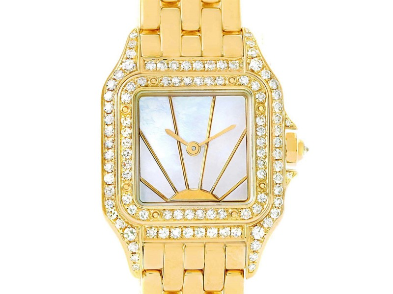 Cartier Panthere Ladies 18k Yellow Gold Diamond Sunrise Dial Watch