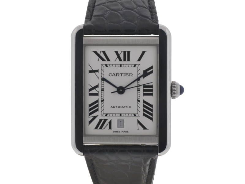 Cartier Tank Solo XL Stainless Steel and Leather Automatic 31mm Watch