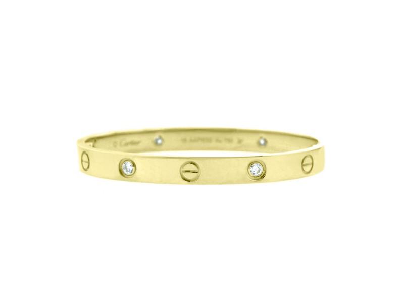 Cartier Love Bracelet Yellow Gold with 4 Diamonds Size 17 B6035917