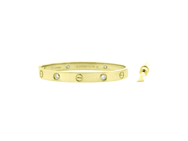 Cartier Love Bracelet Yellow Gold with 4 Diamonds Size 15