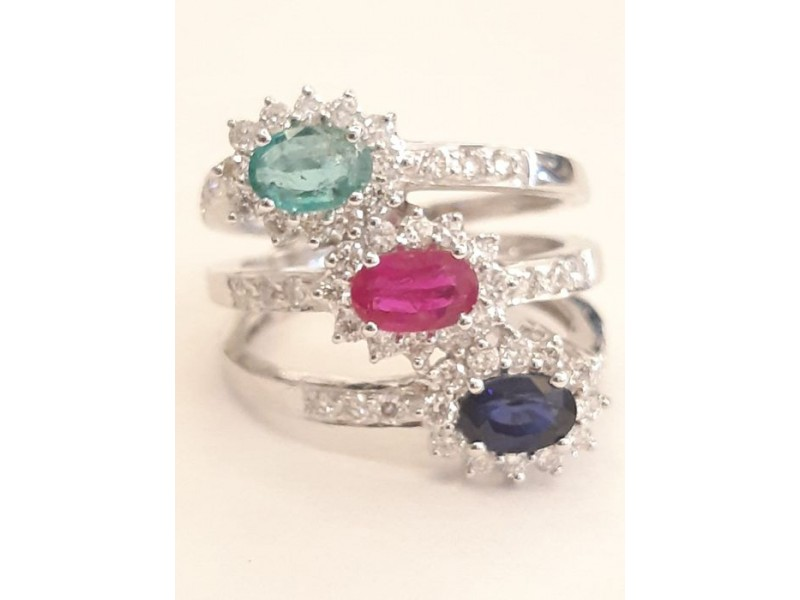 18k White Gold Emerald Sapphire and Ruby Ribbed Ring
