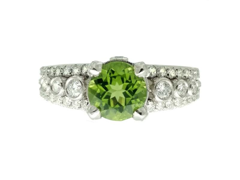 Jack Kelege Platinum Peridot .80ctw Diamond Ring Size 6
