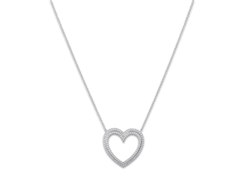 Tiffany & Co. Platinum Diamond Large Heart Necklace