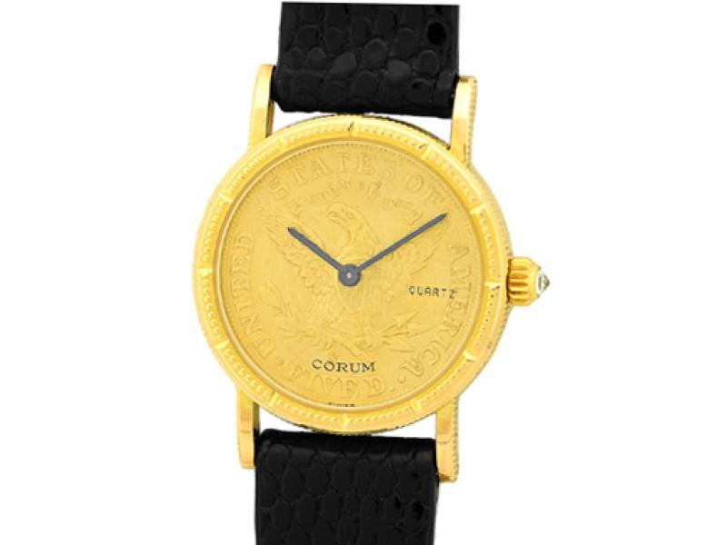 Corum 1894 Five Dollar U.S. Coin 18K Yellow Gold Dress Womens Watch