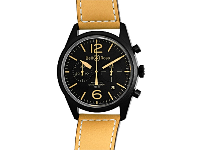 """Bell & Ross """"BR 126"""" Vintage Heritage Chronograph Black Carbon Finish Stainless Steel Mens Strap Watch"""