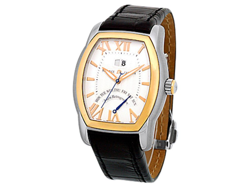 Maurice LaCroix Jours Retrogrades Tonneau Stainless Steel & 18K Rose Gold Strap Mens Watch