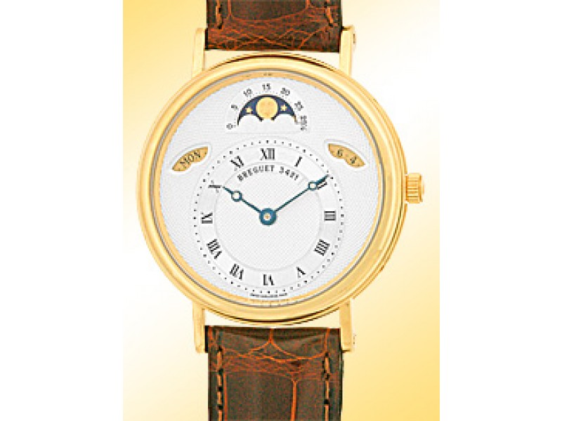 Breguet Classique Moonphase 3337BA 18K Yellow Gold and Leather 35.5mm Watch
