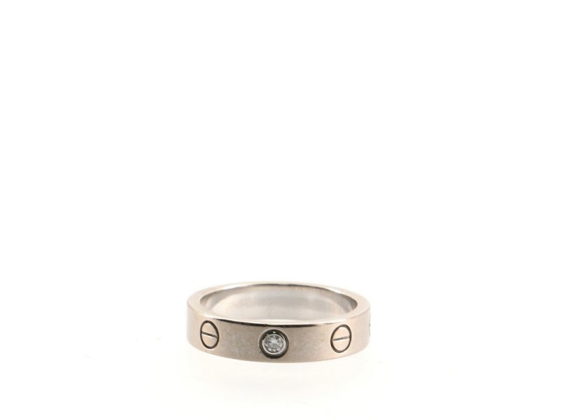Cartier Love Wedding Band 1 Diamond Ring 18K White Gold with Diamond 4.75 - 49