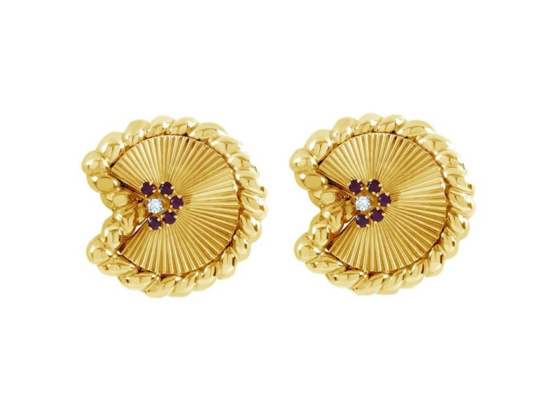 David Webb 18K Yellow Gold and Platinum 0.80 Ct Ruby and 0.16 Ct Diamond Fan Earrings
