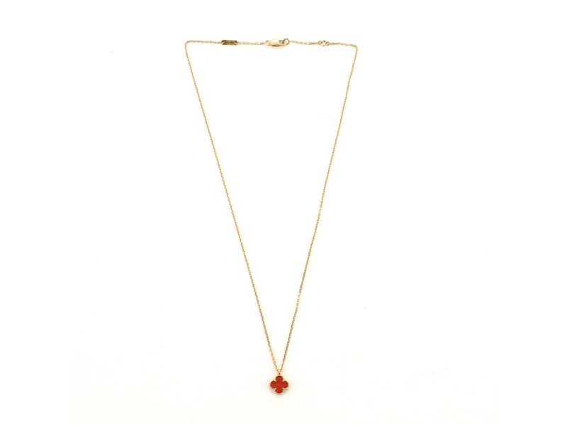 Van Cleef & Arpels Sweet Alhambra Carnelian Necklace 18K Rose Gold