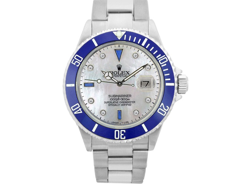 Rolex Submariner 16610 Stainless Steel Blue Ceramic White Mother Of Pearl W/ Diamond 40mm Mens Watch