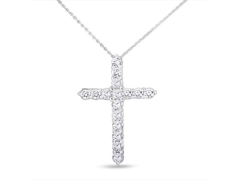 1.50 Ct. Natural Fine Diamond Cross Pendant with Chain in Solid 14k White Gold