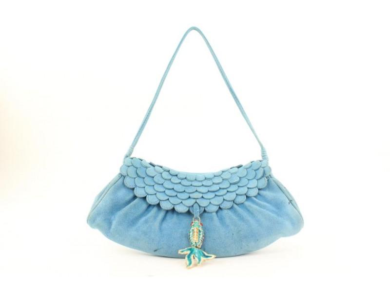 Céline Blue Suede Fish Charm Fringe Bag 33cel115